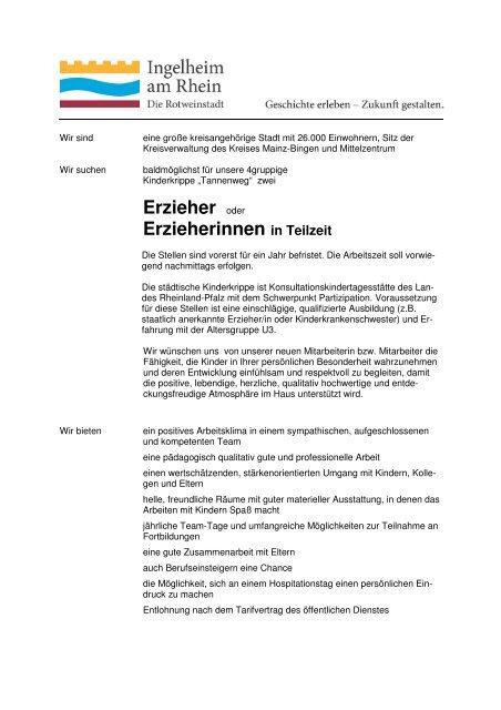 Erzieher oder Erzieherinnen in Teilzeit - Ingelheim