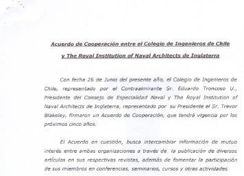 Acuerdo de Cooperación entre el Colegio de Ingenieros de Chile y ...