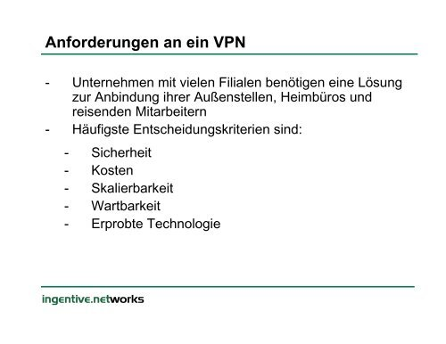 Skalierbare VPN Lösungen mit DMVPN - Ingentive Networks GmbH