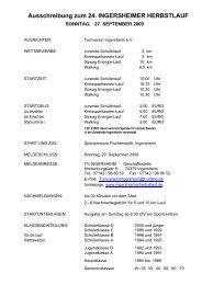 Ausschreibung zum 24. INGERSHEIMER HERBSTLAUF