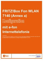 FRITZ!Box Fon WLAN 7140 (Annex a) mit e-fon Internettelefonie