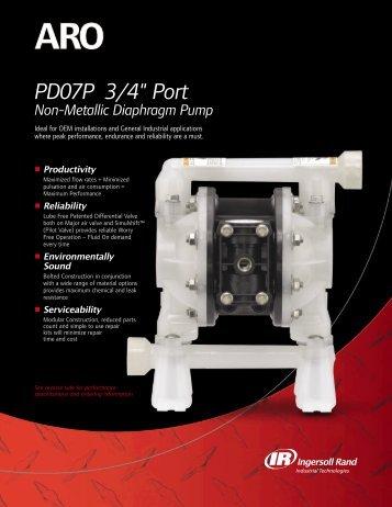 "PD07P 3/4"" Port Non-Metallic Diaphragm Pump - Ingersoll Rand"
