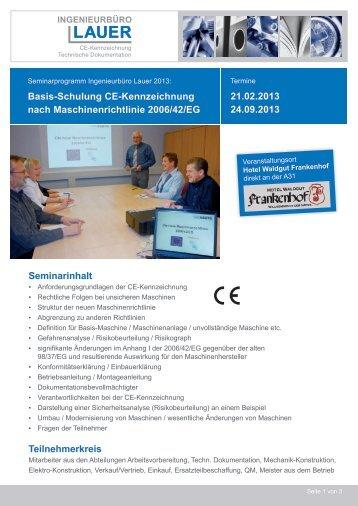 Seminarinhalt Teilnehmerkreis Basis-Schulung CE-Kennzeichnung ...