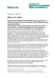 IRMA auf der MIBA! - IngolstadtLandPlus