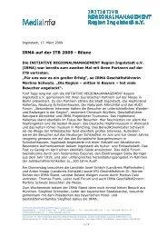 Mediainfo IRMA ITB Bilanz - Initiative Regionalmanagement Region ...