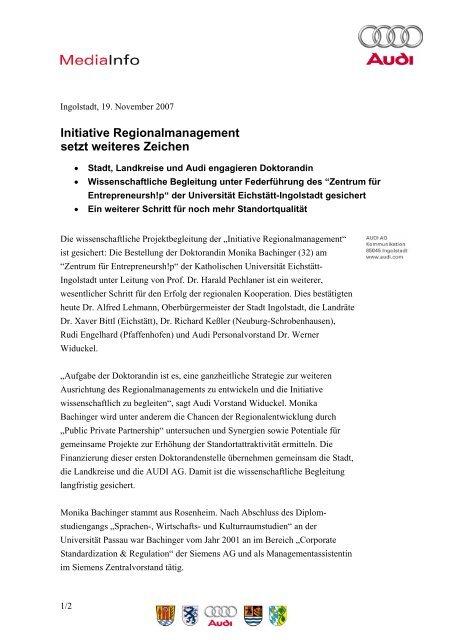 Initiative Regionalmanagement setzt weiteres Zeichen
