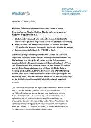 """Startschuss für""""Initiative Regionalmanagement Region Ingolstadt e.V."""""""