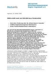 """Startschuss für""""Initiative Regionalmanagement Region Ingolstadt e"""