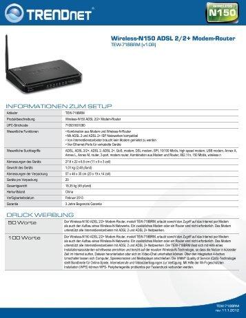 Wireless-N150 ADSL 2/2+ Modem-Router - Ingram Micro
