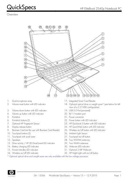 HP EliteBook 2540p Notebook PC - Ingram Micro