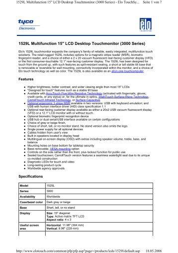 "1529L Multifunction 15"" LCD Desktop Touchmonitor ... - Ingram Micro"