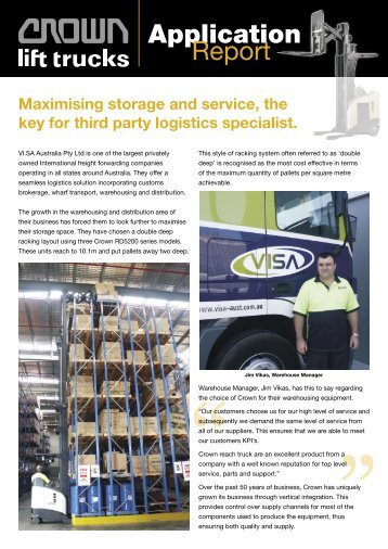 Maximising storage and service, the key for third - Crown Equipment ...