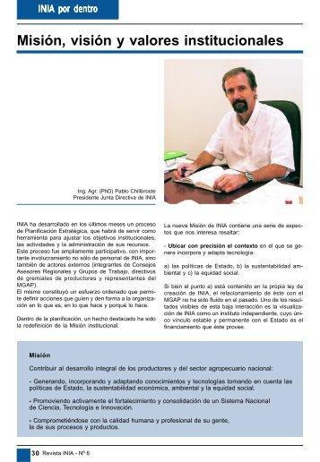 Misión, visión y valores institucionales - Inia