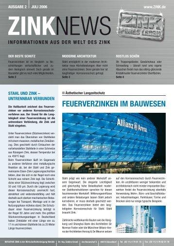 FEUErvErzInkEn Im BAUwESEn - Initiative Zink