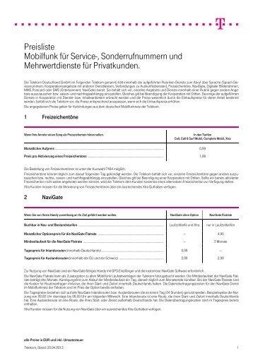 Preisliste Mobilfunk für Service ... - Deutsche Telekom AG