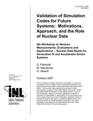 Validation of Simulation Codes for Future Systems - Idaho National ...