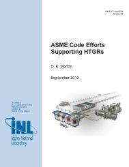 ASME Code Efforts Supporting HTGRs - Idaho National Laboratory