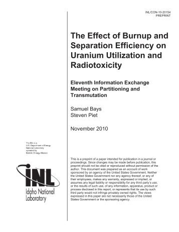 The Effect of Burnup and Separation Efficiency on Uranium ...