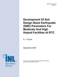 Development Of Soil Design Basis Earthquake (DBE) Parameters ...
