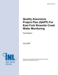For East Fork Ninemile Creek Water Monitoring - Idaho National ...
