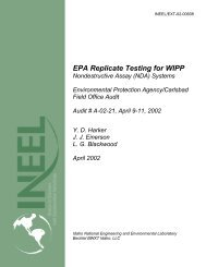 EPA Replicate Testing for WIPP - Idaho National Laboratory