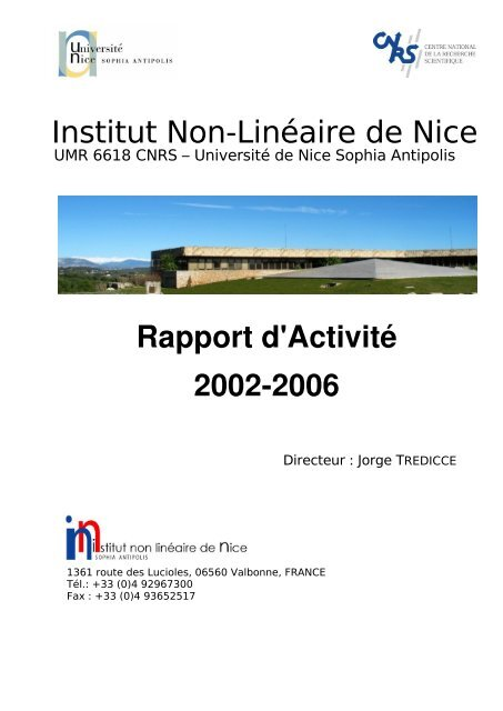 Inln Umr6618 Rapport Dactivite19 Ee 2002 2006 Inln Cnrs