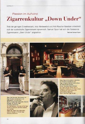 """Passion im Aufwind Zigarrenkultur """"Down Under"""""""