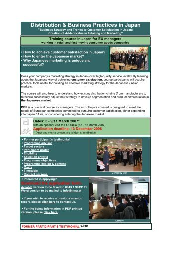 Distribution & Business Practices in Japan - Innovation Network ...