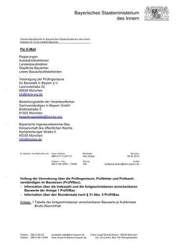 Information über die Indexzahl Anlage 1 PrüfVBau und den ...