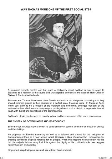 was thomas more one of the first socialists? - The Society of Inner Light