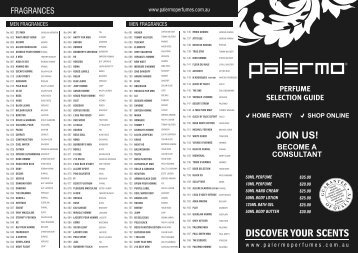 perfume selection guide become a consultant ... - Palermo Perfumes