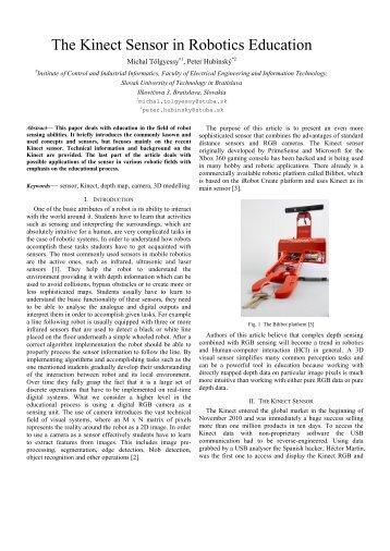 The Kinect Sensor in Robotics Education - InnoC