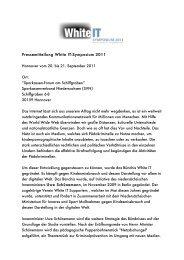 Pressemitteilung White IT-Symposium 2011 Hannover vom 20. bis ...