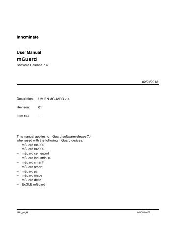 manual mGuard V7.4.0 - Innominate Security Technologies AG