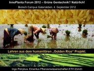 Lehren aus dem humanitären Golden Rice-Projekt - InnoPlanta