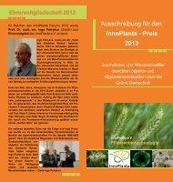 Flyer: Ausschreibung für den InnoPlanta-Preis 2013