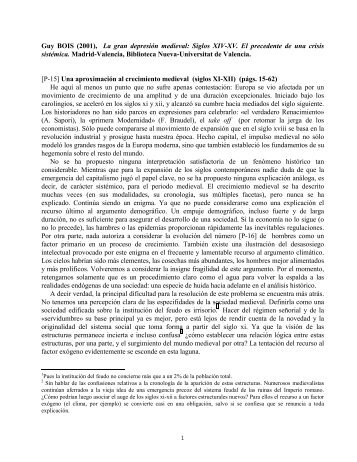 Guy BOIS (2001), La gran depresión medieval: Siglos XIV ... - Innova