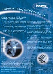 Aluminium Rolling Technology Course - Innoval Technology Ltd