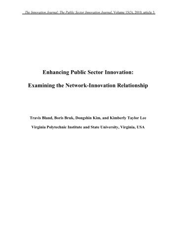 Enhancing Public Sector Innovation: Examining the Network ...