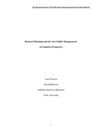 Business Planning and the New Public Management