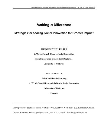 Making Difference - The Innovation Journal