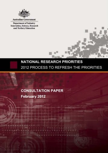 National Research Priorities - Department of Innovation, Industry ...