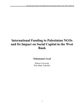 International Funding to Palestinian NGOs and its Impact on Social ...