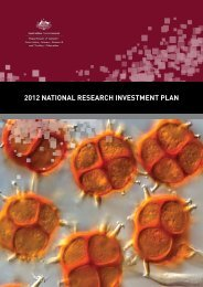 2012 national research investment plan - Department of Innovation ...
