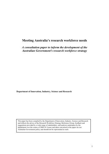 Research Workforce Strategy Consultation Paper - Department of ...