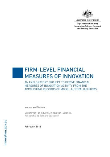 Firm-Level Financial Measures of Innovation - Department of ...
