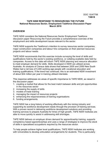 TAFE NSW - Department of Innovation, Industry, Science and ...