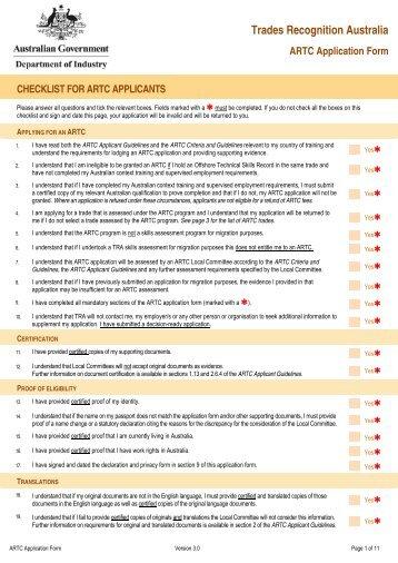 Trades Recognition Australia ARTC Application Form