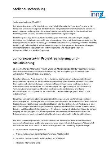 Stellenausschreibung Juniorexperte/-in Projektrealisierung ... - InnoZ