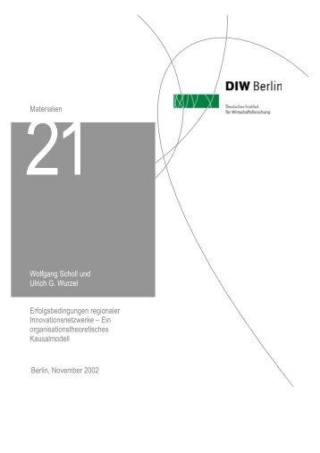 Wolfgang Scholl und Ulrich G. Wurzel ... - DIW Berlin